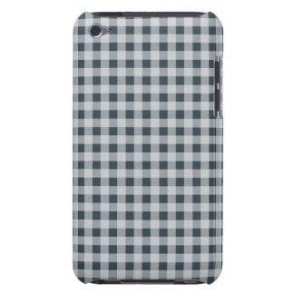 Charcoal Color Gingham Barely There iPod Cover