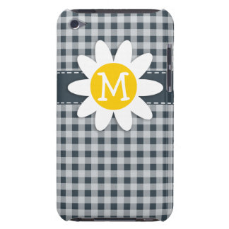 Charcoal Color Gingham; Daisy Barely There iPod Cover