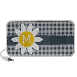 Charcoal Color Gingham Daisy Mp3 Speaker