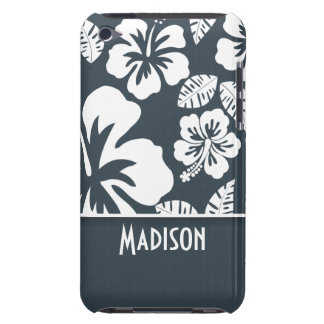 Charcoal Color Tropical Hibiscus; Personalized iPod Touch Cases