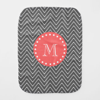 Charcoal Coral Chevron Pattern 2A Monogram Burp Cloth