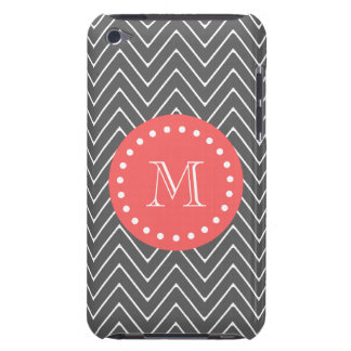 Charcoal Coral Chevron Pattern 2A Monogram iPod Touch Case