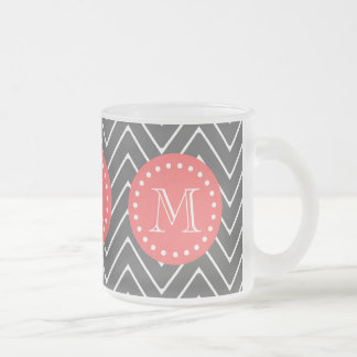 Charcoal Coral Chevron Pattern 2A Monogram Frosted Glass Coffee Mug