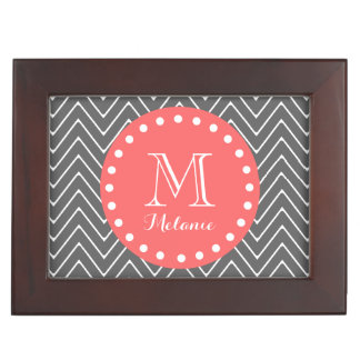 Charcoal Coral Chevron Pattern 2A Monogram Keepsake Boxes
