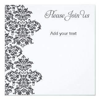 Charcoal Damask Party 13 Cm X 13 Cm Square Invitation Card