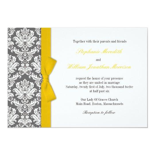 Charcoal Damask Yellow Bow Wedding Invitation
