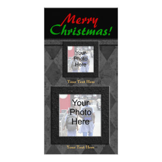 Charcoal Diamone Merry Christmas Custom Photo Card
