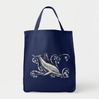 `Charcoal Dolphin II' Grocery Tote Bag