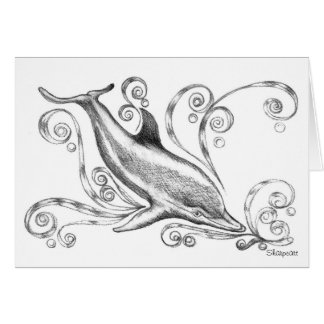 Charcoal Dolphins II' Greetings Card