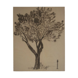 Charcoal Drawing of a Tree Wood Wall Art