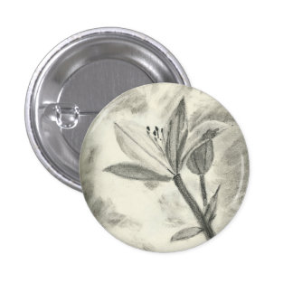 Charcoal Flower 3 Cm Round Badge