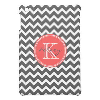 Charcoal Gray and Coral Chevron Custom Monogram iPad Mini Case