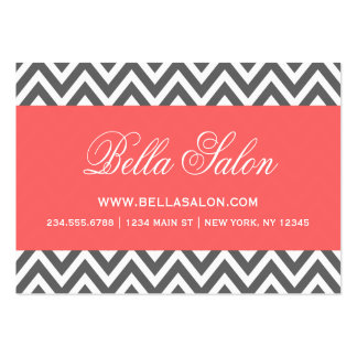 Charcoal Gray and Coral Modern Chevron Stripes Pack Of Chubby Business Cards