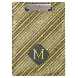Charcoal Gray and Faux Gold Foil Stripes Clipboard