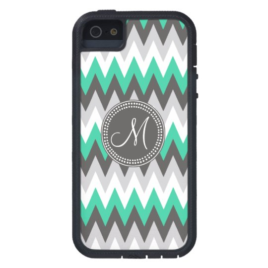 CHARCOAL GRAY AND GREEN CHEVRON iPhone 5 COVER