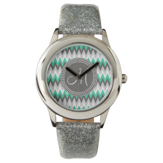 CHARCOAL GRAY AND GREEN CHEVRON WATCH