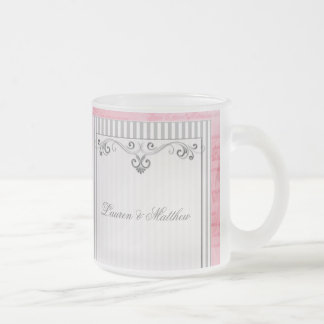 Charcoal gray and pink swirls and stripes frosted glass mug