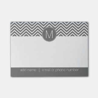 Charcoal Gray and White Chevrons Custom Monogram Post-it Notes