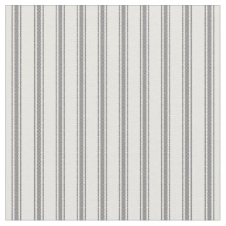 Charcoal Gray and White Classic Ticking Stripes Fabric