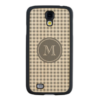 Charcoal Gray and White Gingham, Your Monogram Carved® Maple Galaxy S4 Slim Case