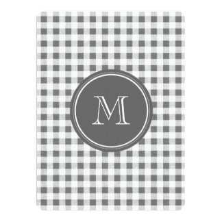 "Charcoal Gray and White Gingham, Your Monogram 6.5"" X 8.75"" Invitation Card"