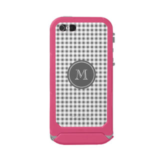 Charcoal Gray and White Gingham, Your Monogram Incipio ATLAS ID™ iPhone 5 Case
