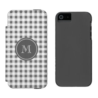 Charcoal Gray and White Gingham, Your Monogram Incipio Watson™ iPhone 5 Wallet Case