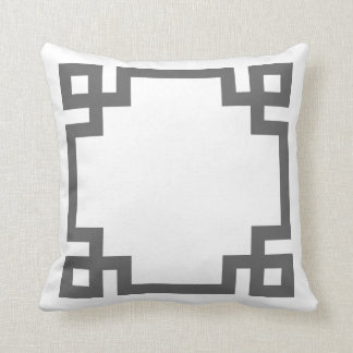 Charcoal Gray and White Greek Key Border Cushion