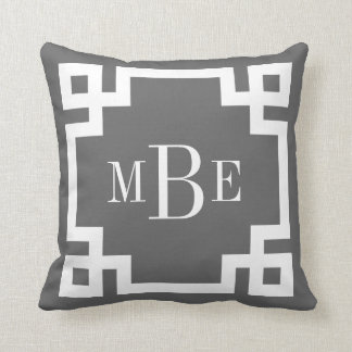 Charcoal Gray and White Greek Key Monogram Cushion