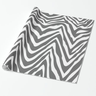Charcoal Gray and White Zebra Stripes Animal Print Wrapping Paper