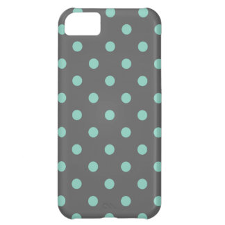 Charcoal Gray & Aqua Cute Modern Polka Dots iPhone 5C Case