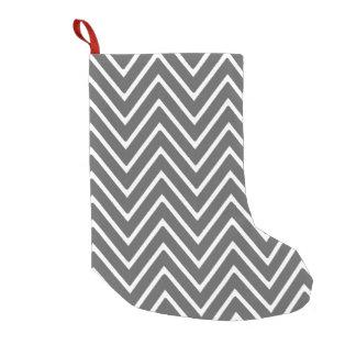 Charcoal Gray Chevron Pattern 2 Small Christmas Stocking