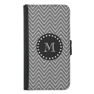 Charcoal Gray Chevron Pattern   Black Monogram Samsung Galaxy S5 Wallet Case