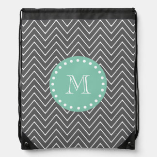 Charcoal Gray Chevron Pattern  Mint Green Monogram Drawstring Bag