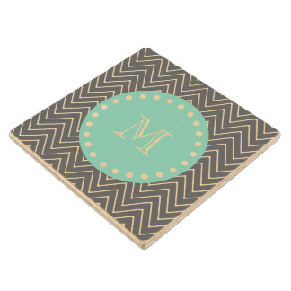 Charcoal Gray Chevron Pattern  Mint Green Monogram Wood Coaster