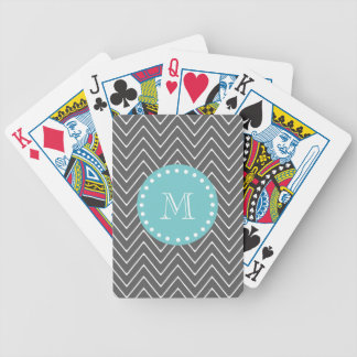 Charcoal Gray Chevron Pattern | Teal Monogram Bicycle Playing Cards