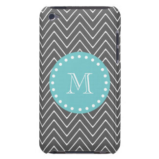 Charcoal Gray Chevron Pattern | Teal Monogram iPod Touch Case-Mate Case