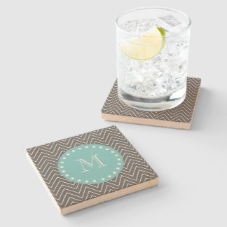 Charcoal Gray Chevron Pattern | Teal Monogram Stone Coaster