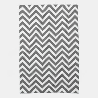 Charcoal Gray Chevron Tea Towel