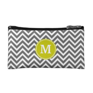 Charcoal Gray Chevron with Custom Monogram Cosmetic Bag
