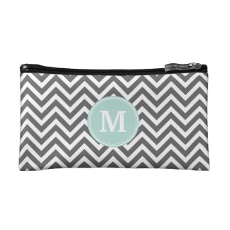 Charcoal Gray Chevron with Custom Monogram Makeup Bag