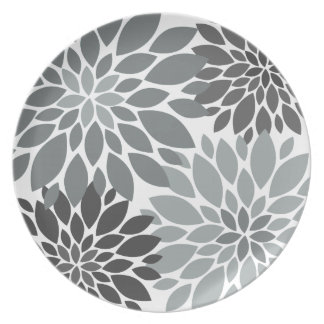 Charcoal Gray Chrysanthemums Floral Pattern Dinner Plate