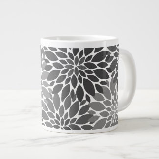 Charcoal Gray Chrysanthemums Floral Pattern Giant Coffee Mug