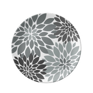 Charcoal Gray Chrysanthemums Floral Pattern Plate