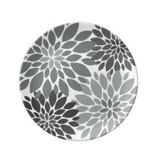 Charcoal Gray Chrysanthemums Floral Pattern Porcelain Plates