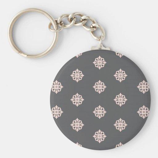 charcoal gray damask key chains
