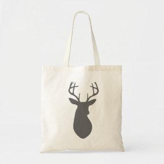 Charcoal Gray Deer Head Silhouette Tote Bags