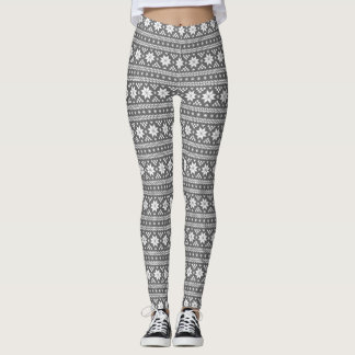Charcoal Gray Fair Isle Leggings