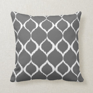 Charcoal Gray Geometric Ikat Tribal Print Pattern Cushion