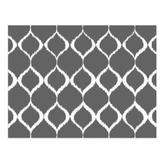 Charcoal Gray Geometric Ikat Tribal Print Pattern Postcard